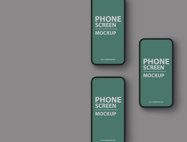 현실적인 전화 화면 모형 디자인