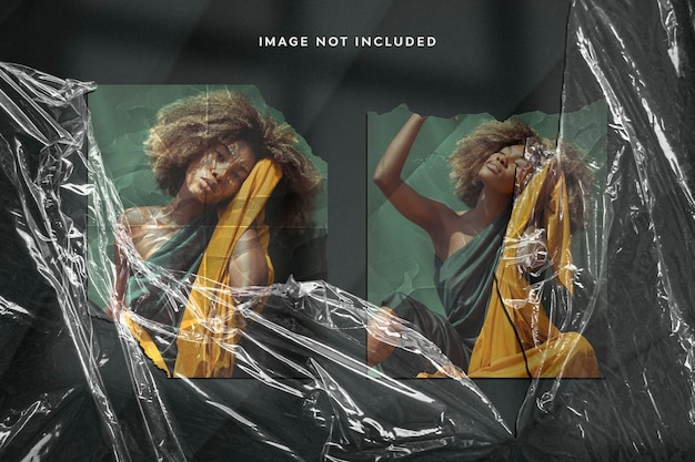 Реалистичный фотоэффект на рваной бумаге и полиэтиленовой пленке