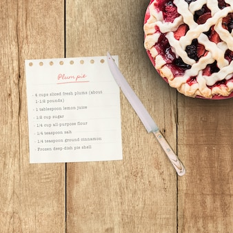 Realistic pie recipe mock up