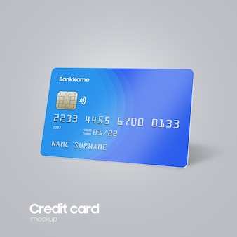 Realistic plastic card on hand mockup