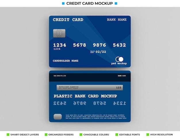 Realistic plastic credit or bank card mockup