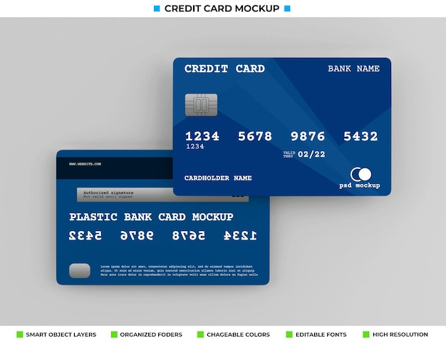 Realistic plastic credit or bank card mockup