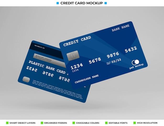 현실적인 플라스틱 신용 또는 은행 카드 모형
