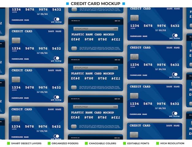 リアルなプラスチッククレジットまたは銀行カードのモックアップ