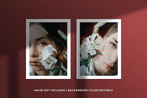 Realistic portrait paper frame photo mockup