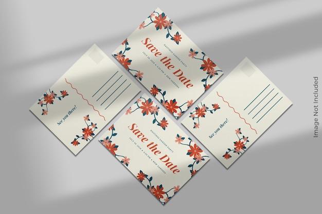 Реалистичный макет открытки с наложением тени