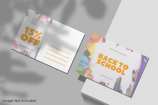 Realistic postcard mockup with shadow overlay