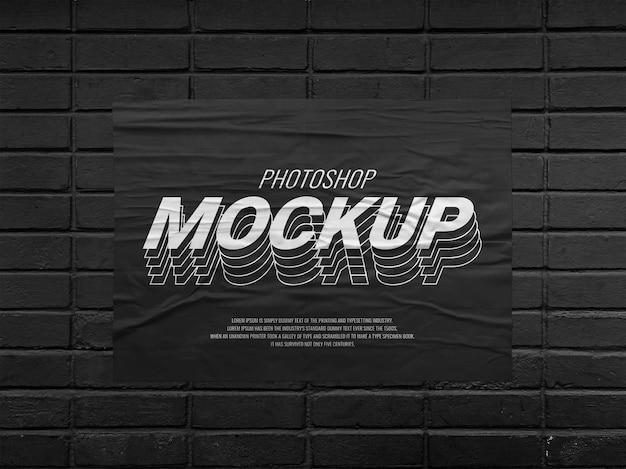 Realistic poster advertising mockup on black brick wall