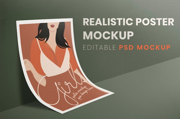 Realistic poster mockup, paper aesthetic design psd