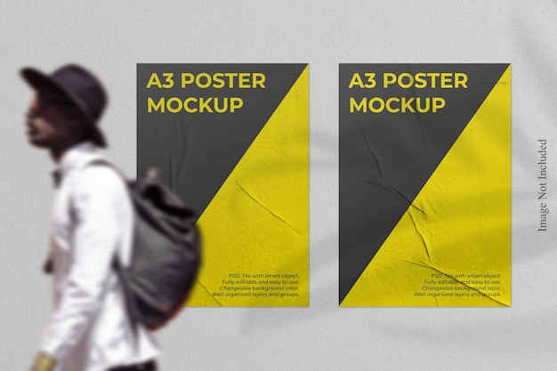 Realistic poster mockup with shadow overlay