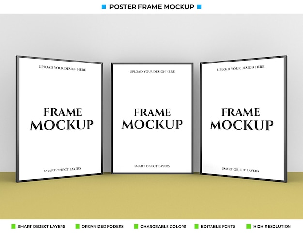 현실적인 포스터 또는 사진 프레임 모형