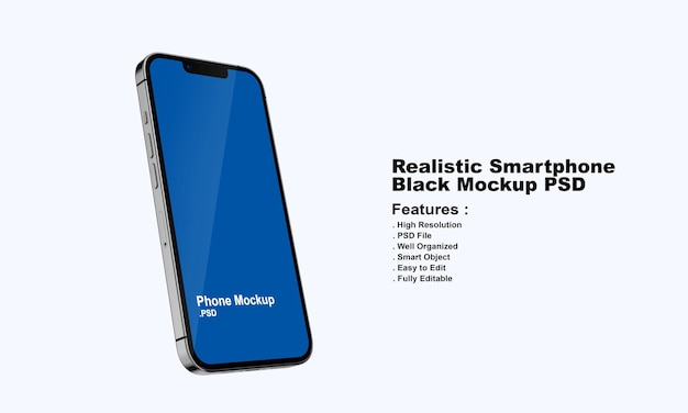 Реалистичный черный смартфон премиум-класса