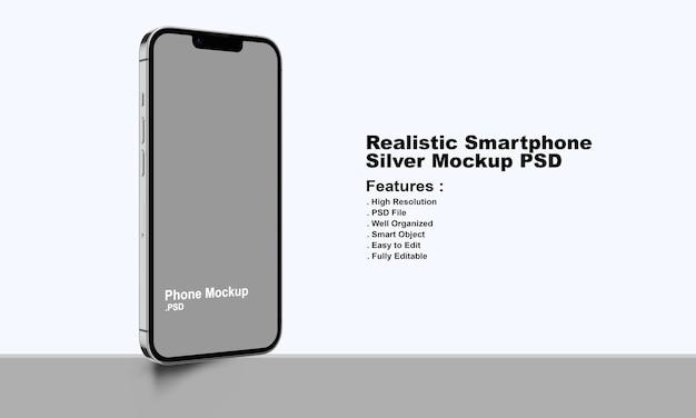 Реалистичный макет смартфона премиум-класса silver
