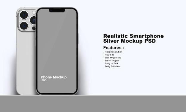 현실적인 프리미엄 실버 스마트폰 목업