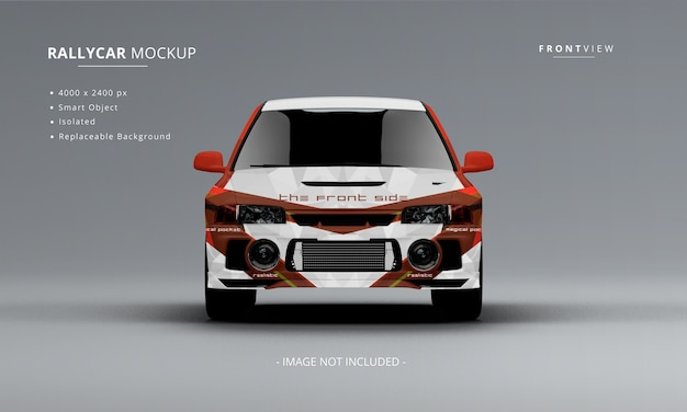 Realistic rally car mockup front view isolated