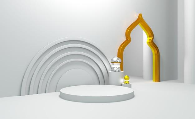 Realistic ramadan kareem with 3d podium