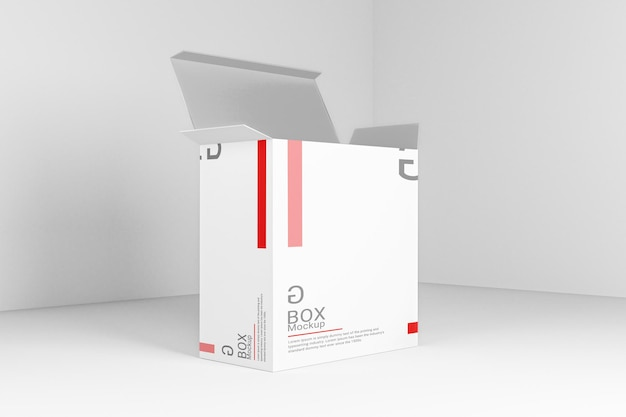 Реалистичный дизайн макета прямоугольной коробки с изменяемым цветом в открытом виде