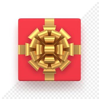 金色の弓が付いたリアルな赤いギフトボックス。クリスマスと新年の装飾のための上面図の正方形のプレゼント。休日のバナーやグリーティングカードのために白で隔離の装飾的なお祝いのオブジェクト。