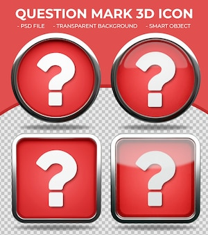 Realistic red glass button shiny round and square 3d question mark icon