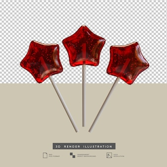 Realistic red star candy stick 3d illustration