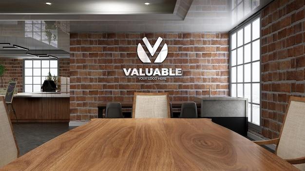 Realistic restaurant logo mockup with brick wall