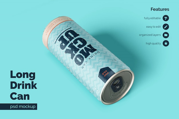 Realistic in resting position and facing front long aluminium metal drink can mockup template