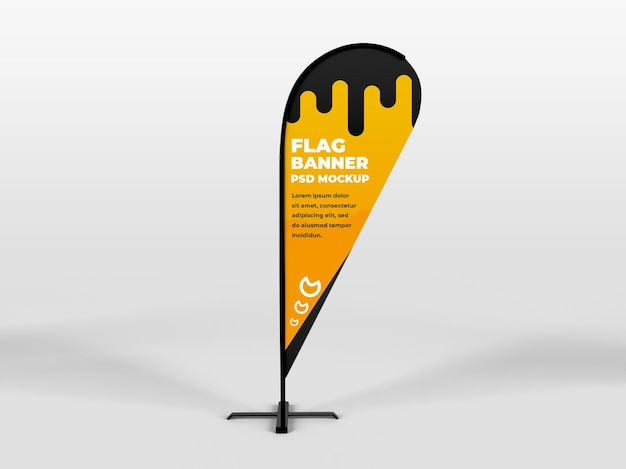 Realistic rounded feather flag vertical banner advertising and branding campaign mockup