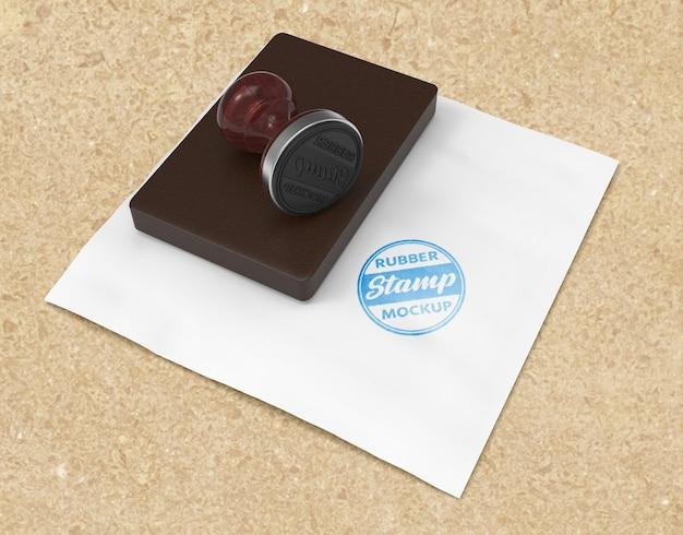 リアルなラバースタンプまたはスタンプパッドのロゴのモックアップデザイン