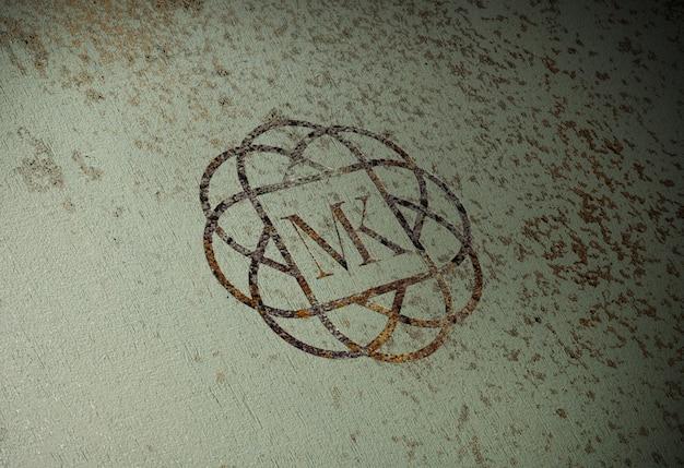 Realistic rusty logo mock-up on old metal wall