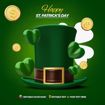 Realistic sant patrick's hat isolated design