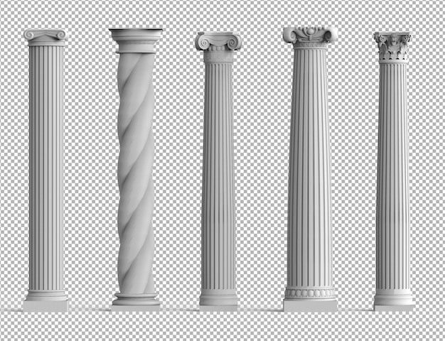 Realistic set of ancient isolated 3d columns with different styles of greek architecture.