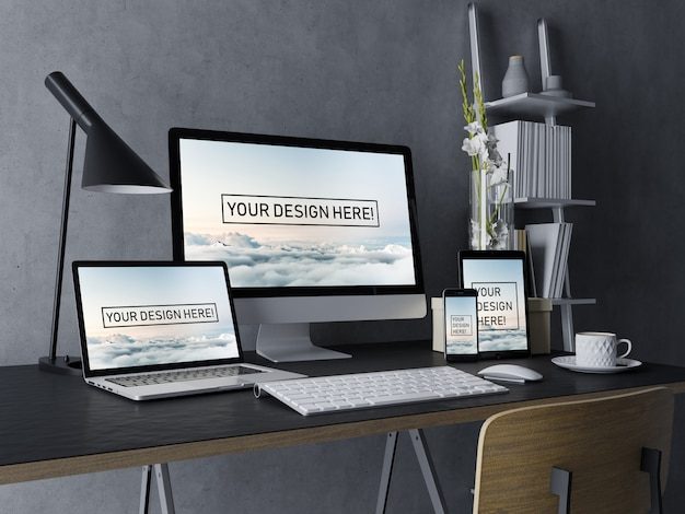 Realistic set desktop, laptop, tablet, and smartphone mock up design template with editable screen in black modern interior workspace