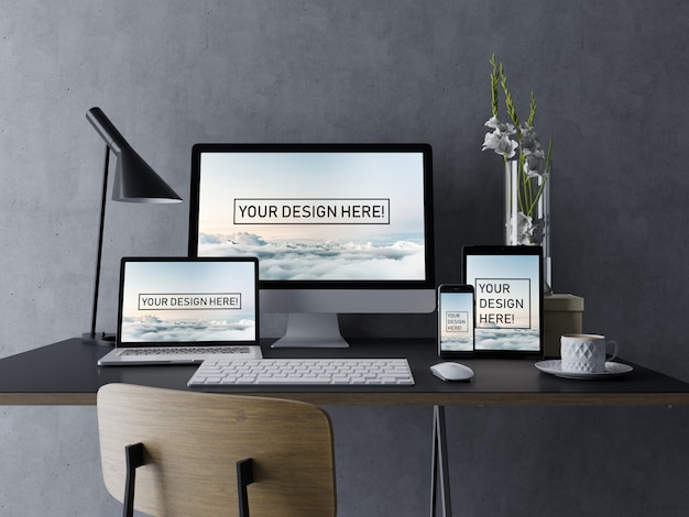 Realistic set desktop pc, laptop, tablet, mobile phone mock up design template with editable screen in modern workspace