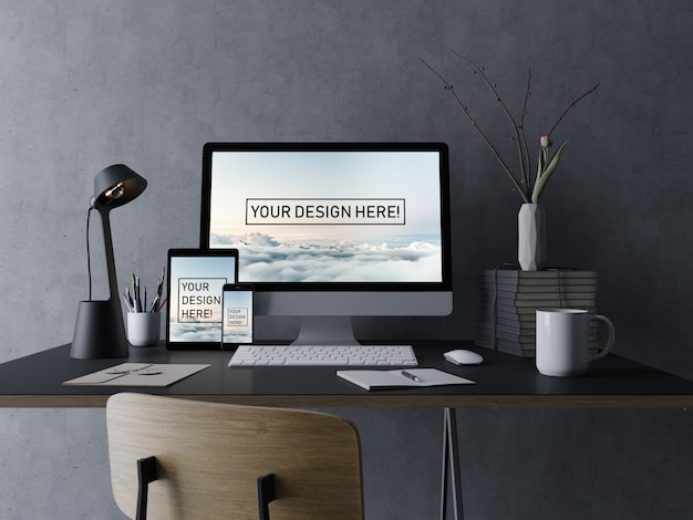 Realistic set pc desktop, tablet pad, and phone mockup design template with editable display in black minimal interior
