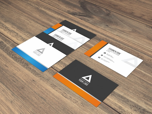 Realistic several business cards mockup on wood background