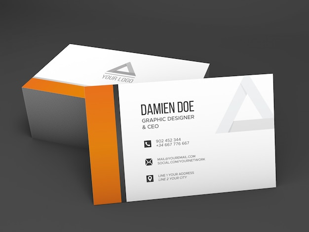 Realistic shaded business card mockup