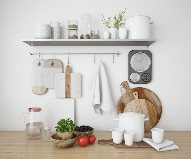 Realistic shelves in a kitchen with utensils