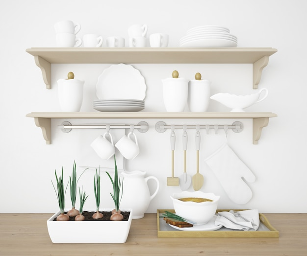 Realistic shelves in a kitchen with white plates