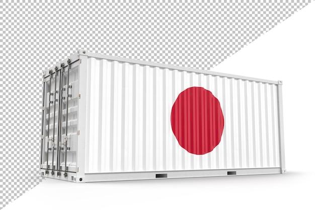 일본 국기와 질감이 있는 현실적인 운송 화물 컨테이너. 외딴. 3d 렌더링