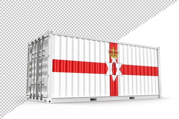 북아일랜드의 국기와 질감이 있는 현실적인 운송 화물 컨테이너. 외딴. 3d 렌더링