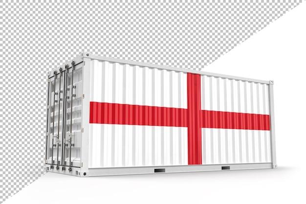 영국 국기와 질감이 있는 현실적인 선적 컨테이너. 3d 렌더링