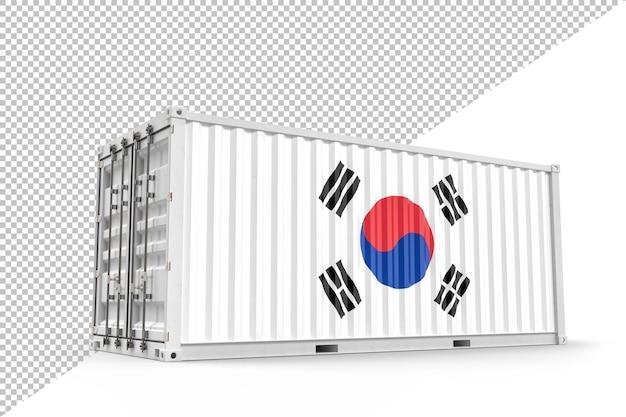 한국의 국기와 질감이 있는 현실적인 선적 컨테이너. 외딴. 3d 렌더링