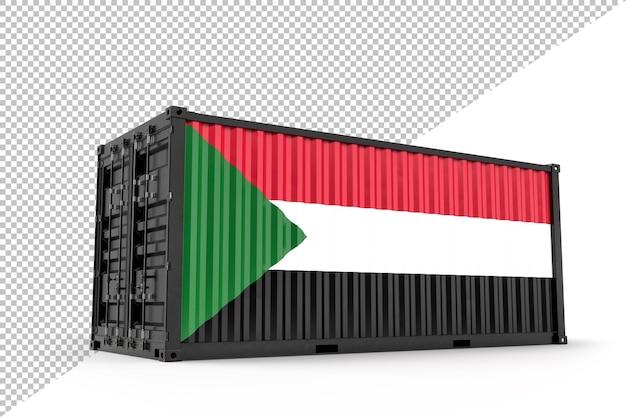 팔레스타인 국기와 질감이 있는 현실적인 선적 컨테이너. 외딴. 3d 렌더링