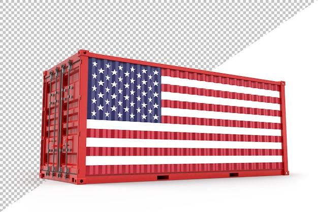 미국 국기와 질감이 있는 현실적인 선적 컨테이너. 외딴. 3d 렌더링