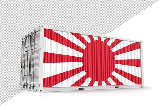 일본 제국 국기와 질감이 있는 현실적인 선적 컨테이너. 3d 렌더링