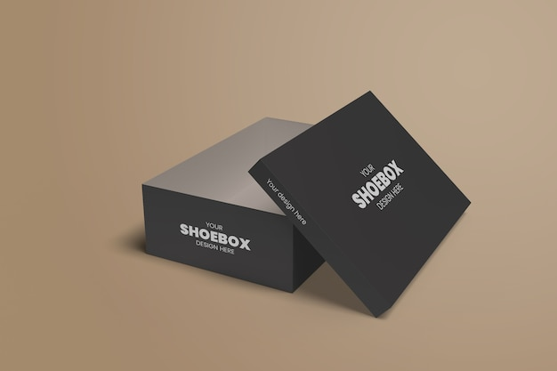 Realistic shoe box mockup