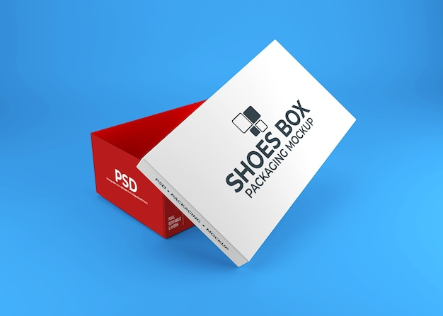Realistic shoes box packaging mockup