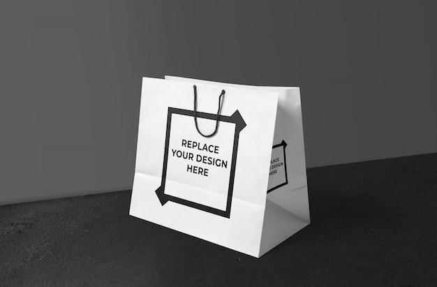 Realistic shopping bag mockup template