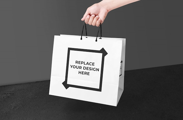 Realistic shopping bag mockup template