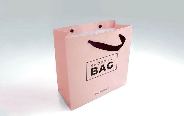 Realistic shopping paper bag mockup template